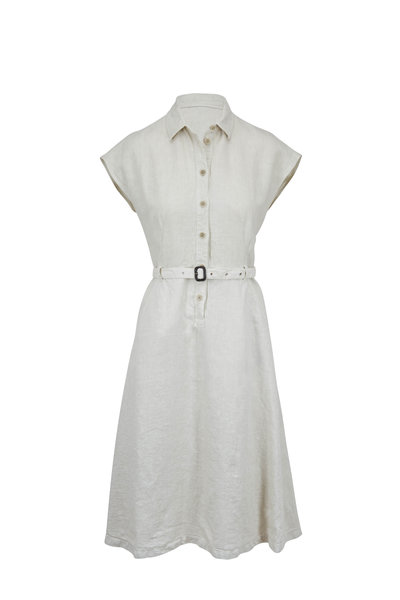Aspesi - Beige Linen Cap-Sleeve Belted Dress