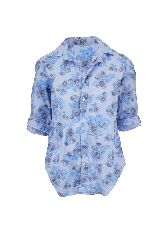 Frank & Eileen Frank Blue With Gray Floral Button Down Shirt