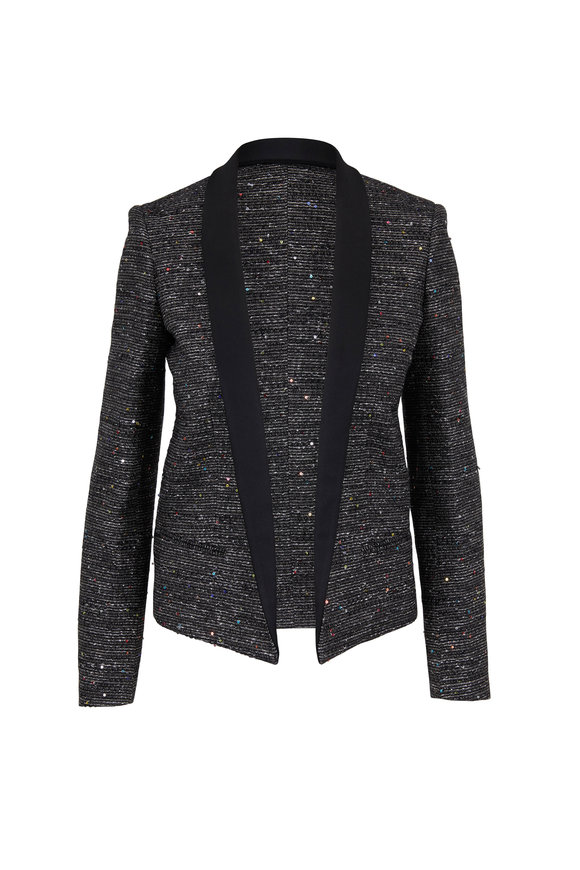 Saint Laurent Black Sequin Tweed Jacket