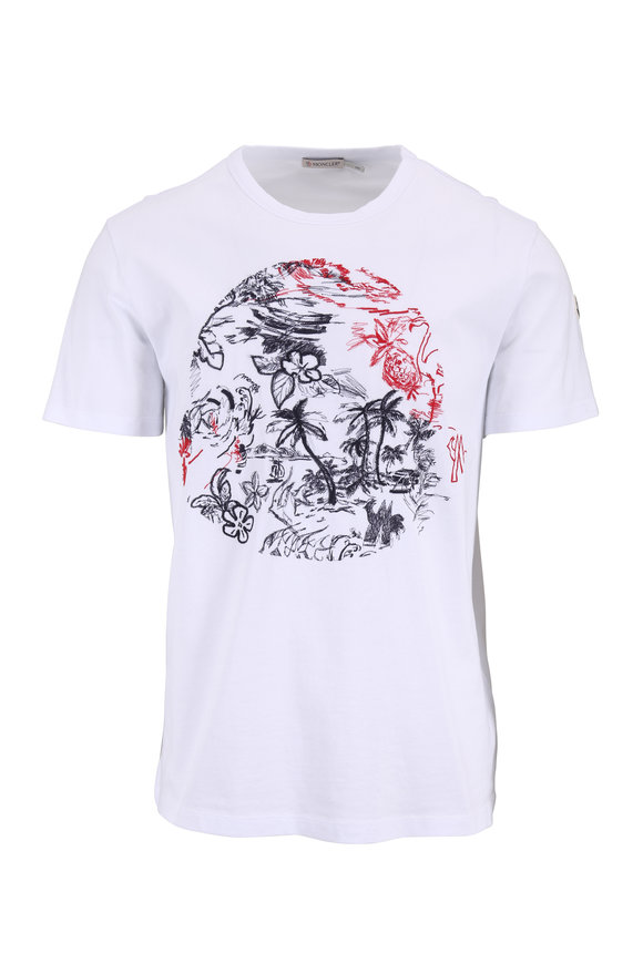 Moncler White Stitched Graphic T-Shirt