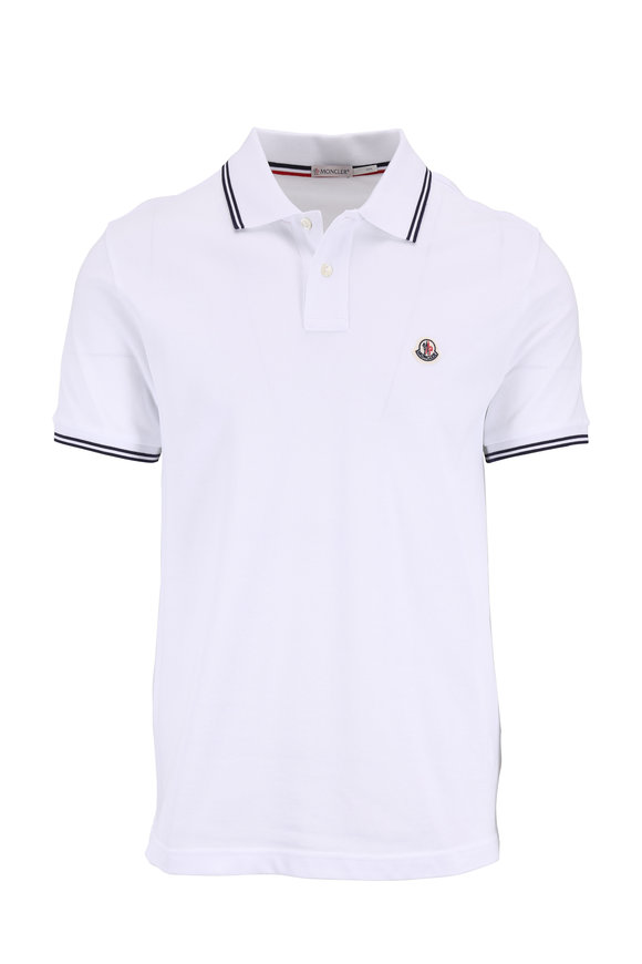 Moncler White Tipped Knit Polo
