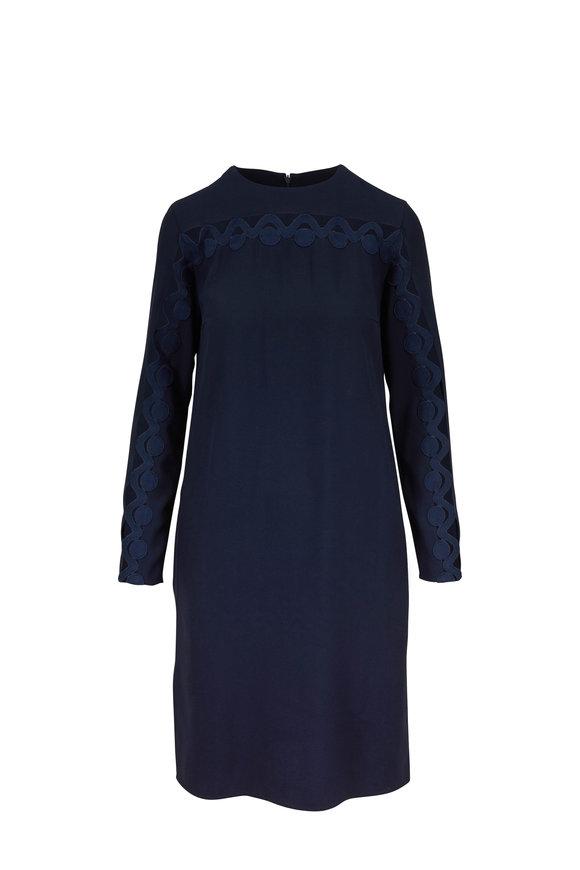 Akris Punto Navy Blue Cut-Out Long Sleeve Dress