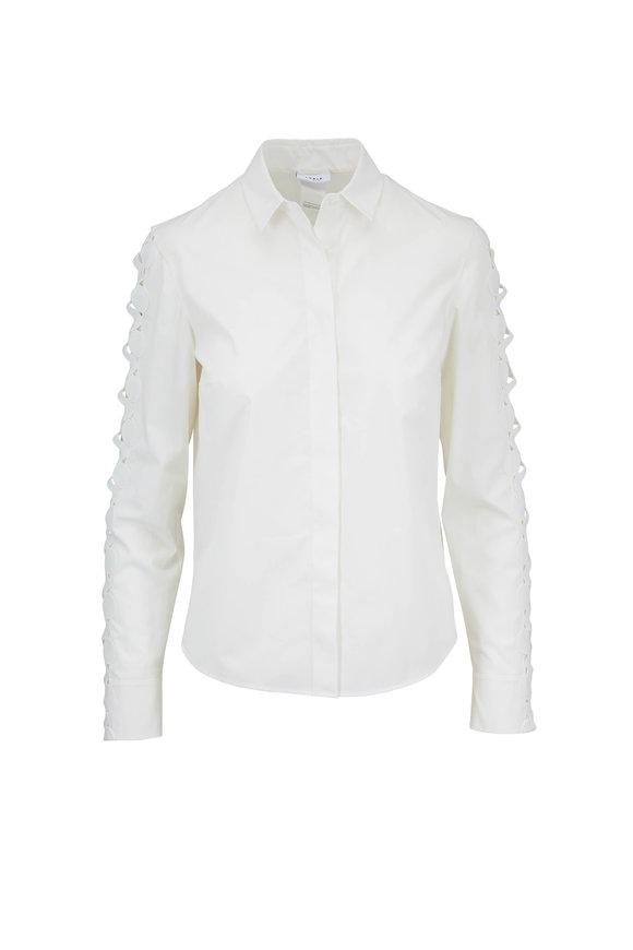 Akris Punto White Cotton Cut Out Long Sleeve Blouse