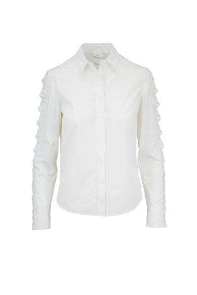 Akris Punto - White Cotton Cut Out Long Sleeve Blouse