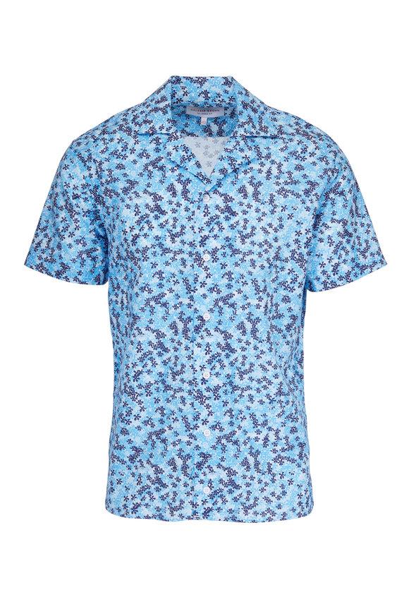 Orlebar Brown Travis Ninfea Bahama Blue & White Resort Shirt