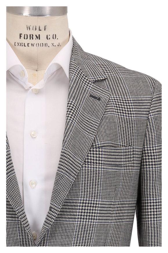 Brunello Cucinelli Navy Blue Linen & Wool Blend Plaid Sport Coat
