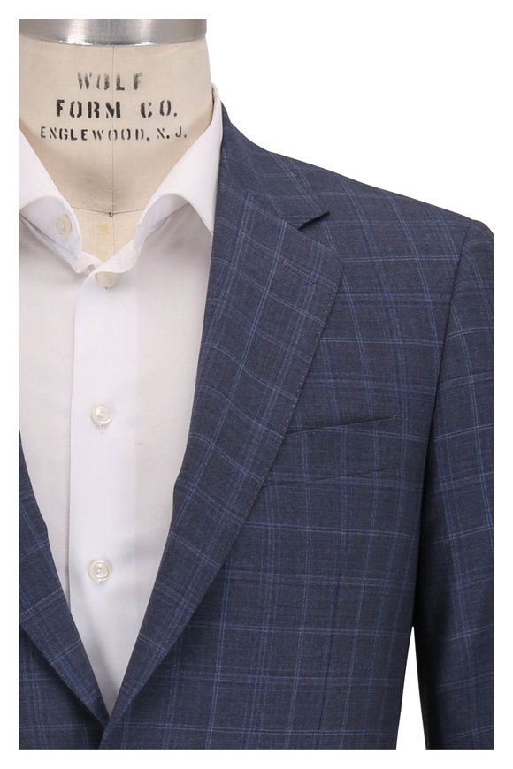 Canali Gray & Blue Windowpane Plaid Wool Suit
