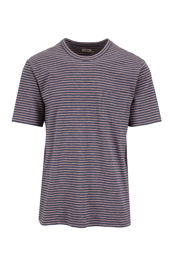 Faherty Brand Navy Blue & Coral Striped Pocket T-Shirt