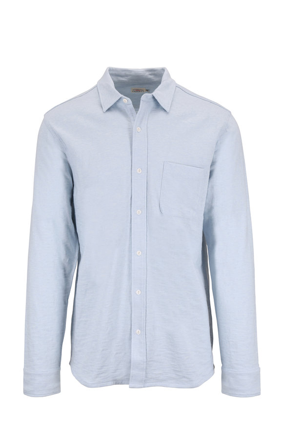 Faherty Brand Ventura Light Blue Knit Sport Shirt