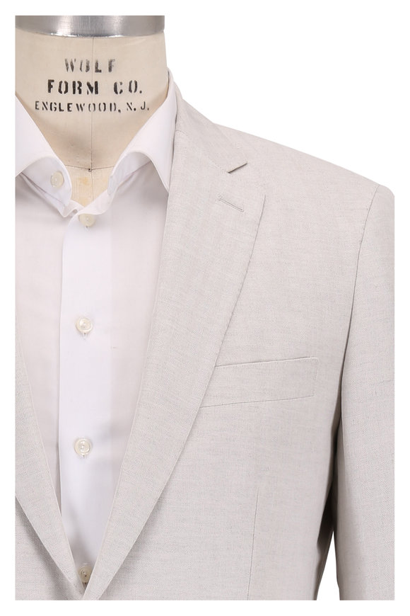 Atelier Munro Tan Tonal Herringbone Cotton Suit