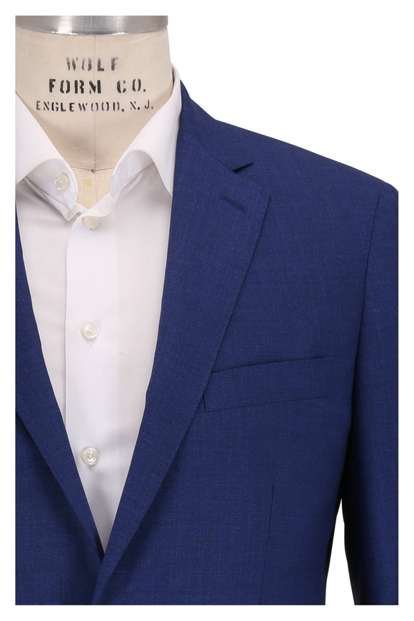Atelier Munro Solid Medium Blue Wool Suit