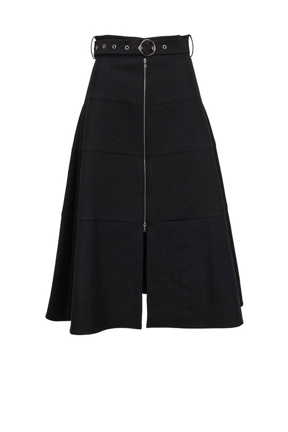 Partow Black Linen Blend Front-Zip Belted Midi Skirt