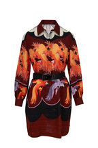 Fendi - Multi Parrot Print Georgette Belted Tunic