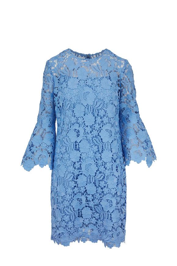 Lela Rose Sky Blue Flutter Sleeve Tunic Dress