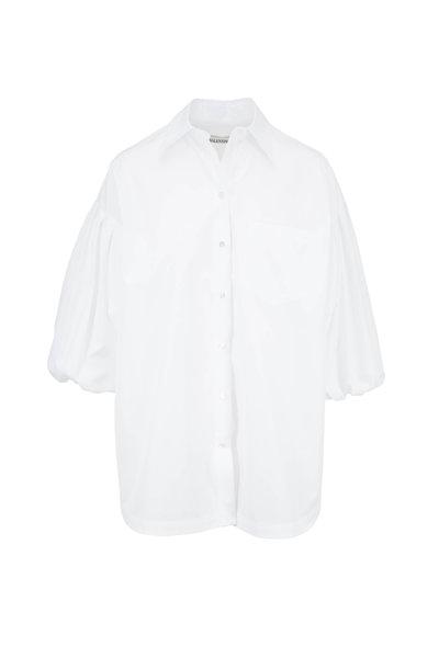 Valentino - White Poplin Balloon Sleeve Button Down Blouse
