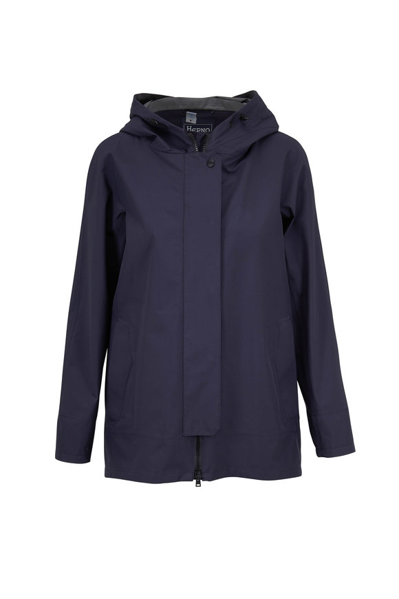 Herno Navy Gortex High-Low Rain Coat