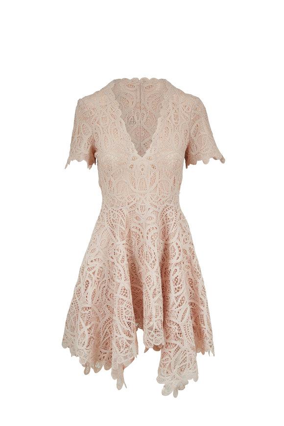 Jonathan Simkhai Ballet Pink Guipure Lace Handkerchief Dress