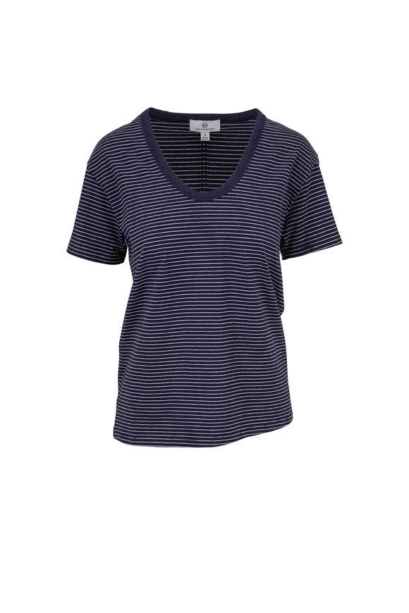 AG - Adriano Goldschmied Aegean Blue & White Striped T-Shirt