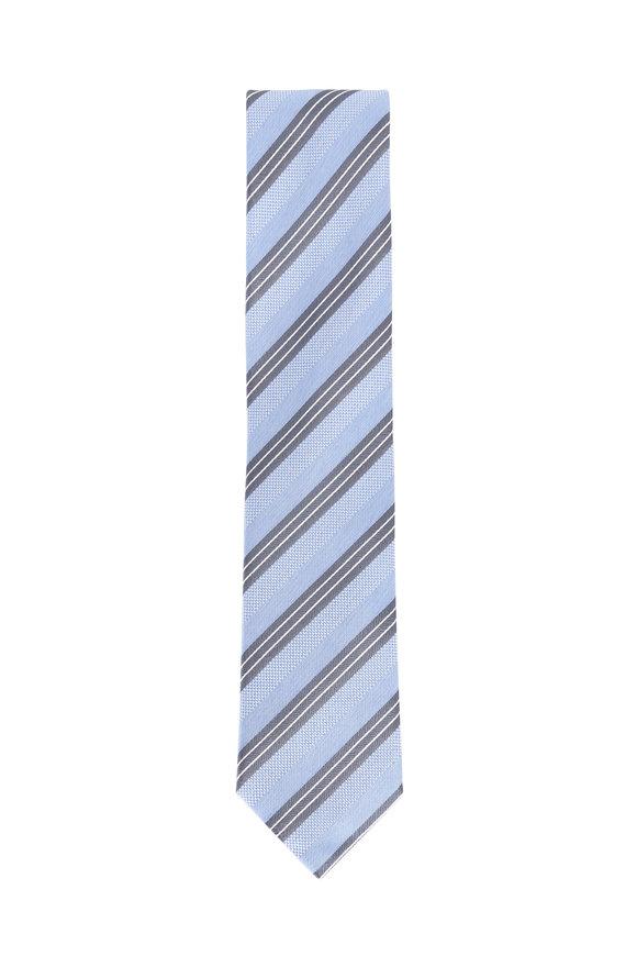 Brioni Sky Blue Silk Striped Necktie