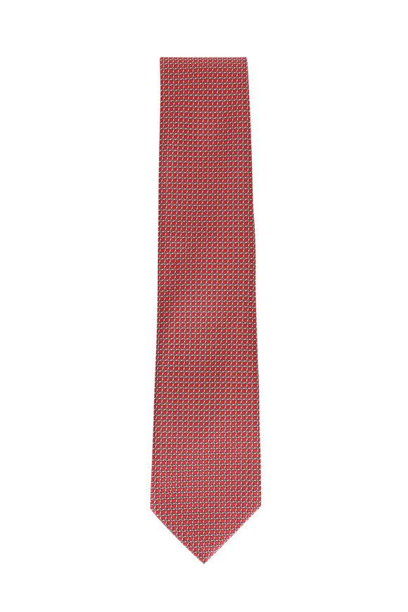 Brioni Red Silk Diagonal Patterned Necktie