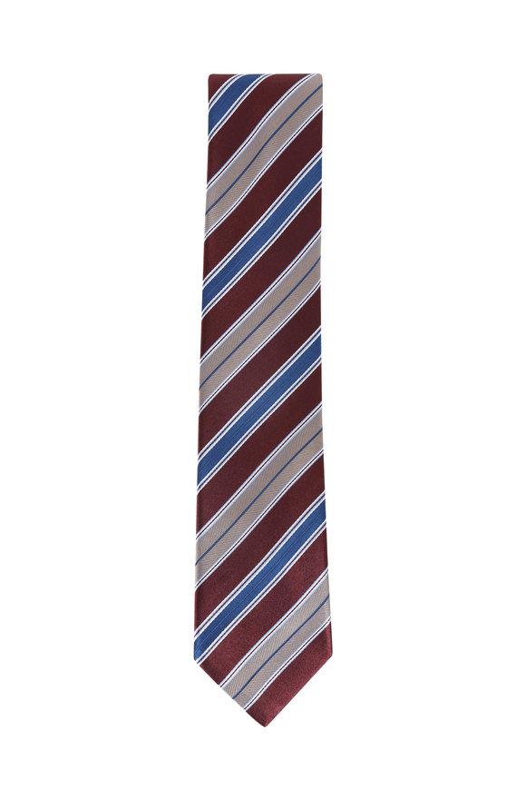 Brioni Brown Silk Striped Necktie