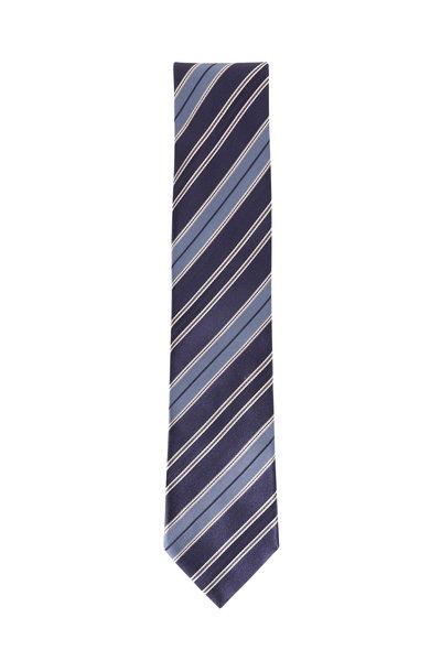 Brioni - Navay Blue Silk Striped Necktie