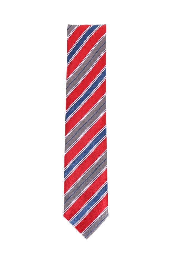 Brioni Red & Navy Blue Silk Striped Necktie