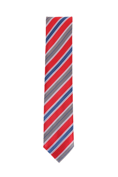 Brioni - Red & Navy Blue Silk Striped Necktie