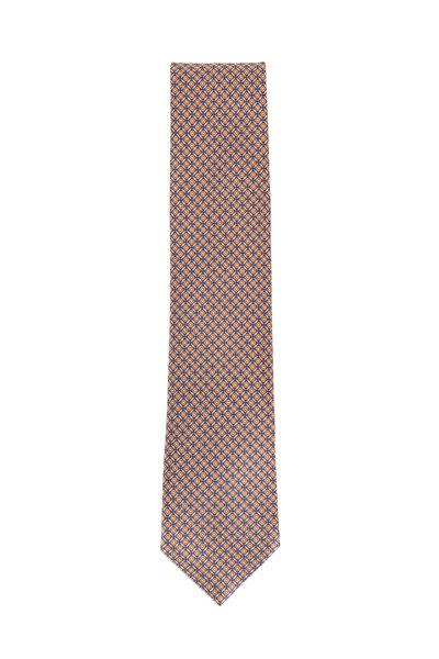 Brioni - Navy Blue & Orange Silk Geometric Necktie