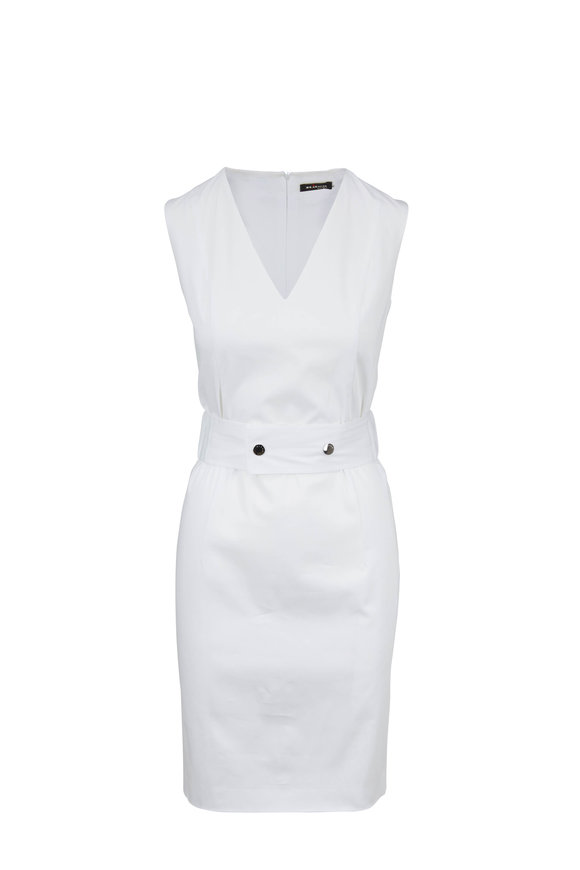 Kiton White Stretch Cotton V-Neck Belted Dress
