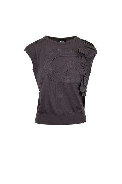 Akris - Magnet Silk & Wool Appliqué Cap-Sleeve Top