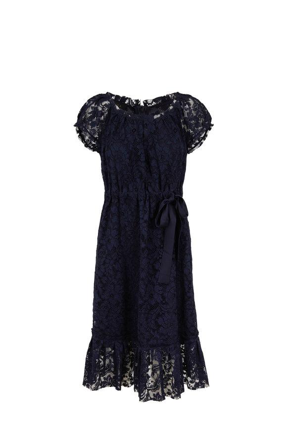 Escada Dhania Navy Lace Short Sleeve Day Dress