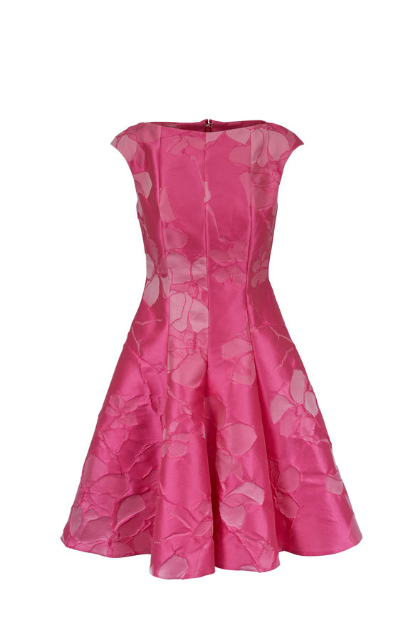 Talbot Runhof Korbut7 Hot Pink Cap Sleeve Dress
