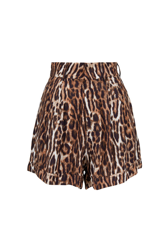 R13 Leopard Pleated High-Rise Shorts