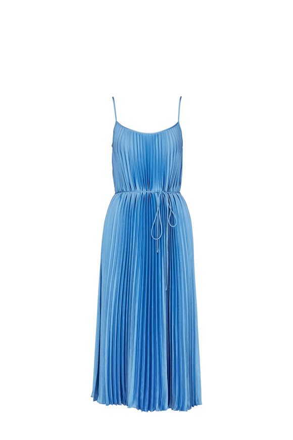 Vince Blue Pumic Pleated Cami Dress