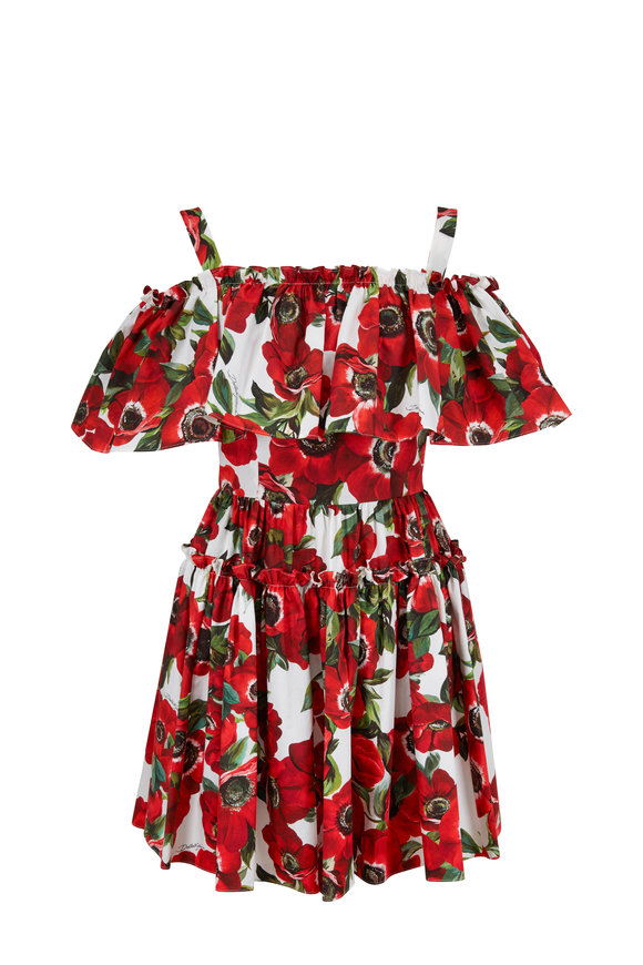 Dolce & Gabbana Red Anemone Floral Off-The-Shoulder Ruffled Dress
