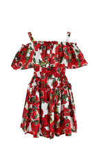 Dolce & Gabbana - Red Anemone Floral Off-The-Shoulder Ruffled Dress