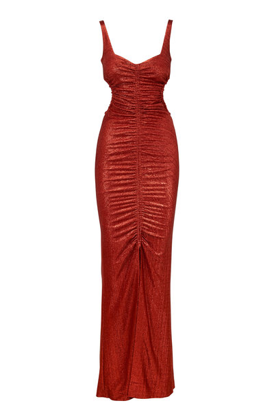 Galvan - Sahara Rust Lamé Ruched Sleeveless Gown