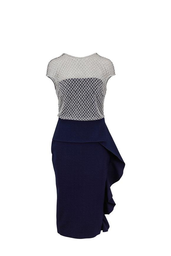 Rachel Gilbert Elsa Navy Sequin Bodice Cap-Sleeve Dress