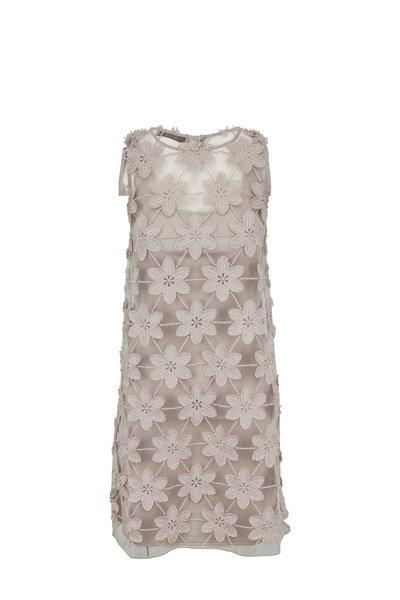 D.Exterior - Silver Flower Embroidered Sleeveless Dress