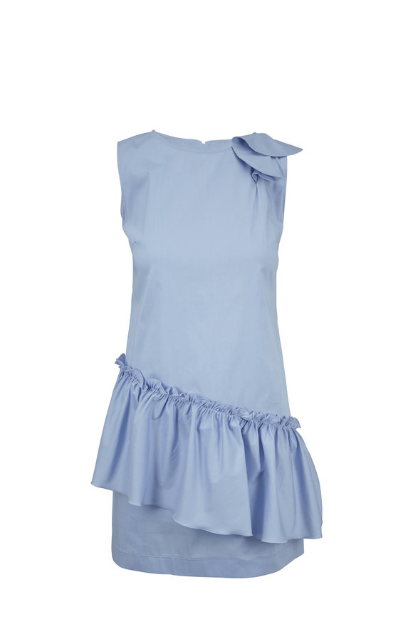 D.Exterior Sky Blue Poplin Ruffle Hem Mini Dress