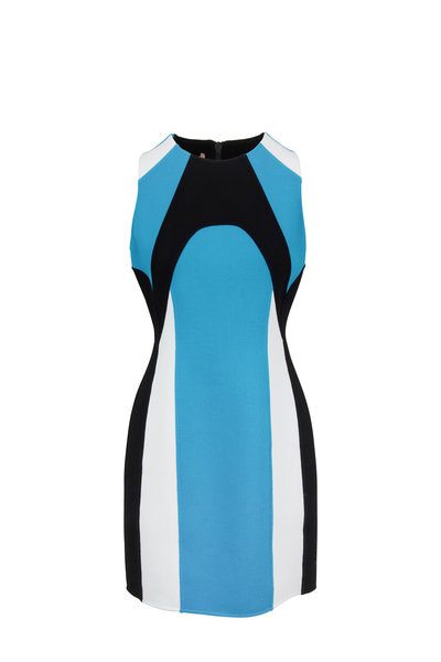 Michael Kors Collection - Turquoise Colorblock Scuba Sleeveless Dress