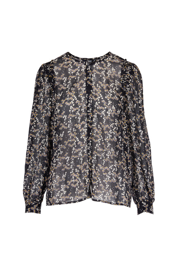 Paige Denim Black Silk Floral Print Peasant Blouse