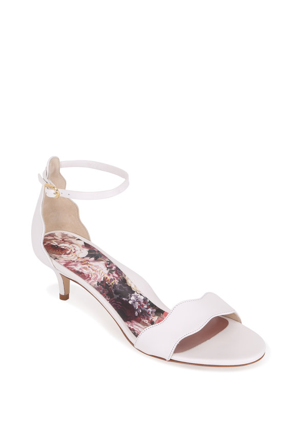 Marion Parke Raven White Leather Scalloped Sandal, 45mm