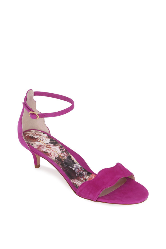 Marion Parke Raven Orchid Suede Scalloped Sandal, 45mm