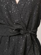 Brunello Cucinelli - Onyx Linen & Silk Paillette Wrap Cardigan