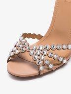 Aquazzura - Tequila Powder Pink Jeweled Sandal, 105mm