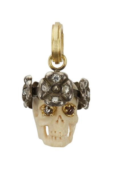 Sylva & Cie - Gold & Silver Diamond Juliet Skull Pendant