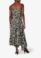 Derek Lam - Black & Ivory Poppy Print Silk Strapless Dress