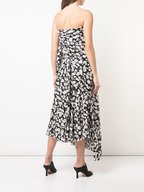 Derek Lam - Black & Ivory Poppy Print Silk Strapless Dress
